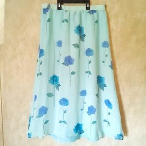 Vintage light blue floral print silk skirt large